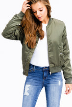 Load image into Gallery viewer, Satin Puffer Bomber Jacket