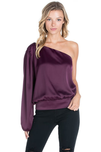 One Sleeve Satin Blouse