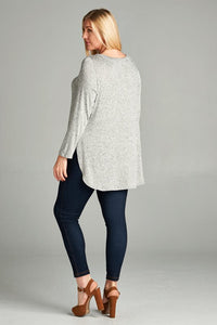 Curvy Side Slit Sweater