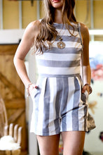 Load image into Gallery viewer, Striped Linen Romper