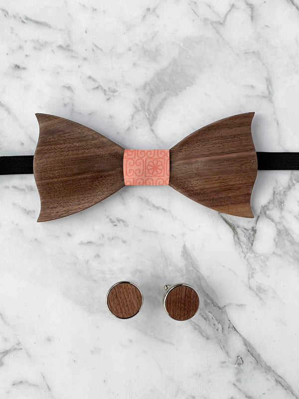 Cotton Walnut Wooden Bow Tie & Cufflinks Set
