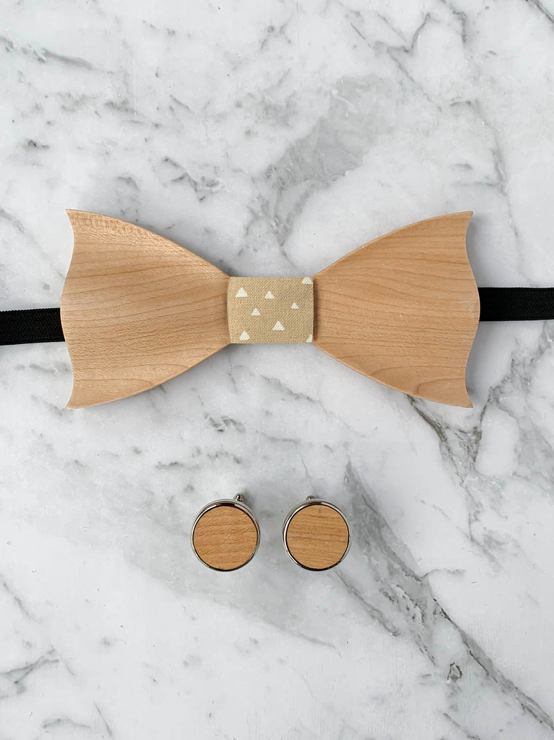 Oatmeal Leather Trim Suspenders, Wooden Bowtie & Cufflinks Set