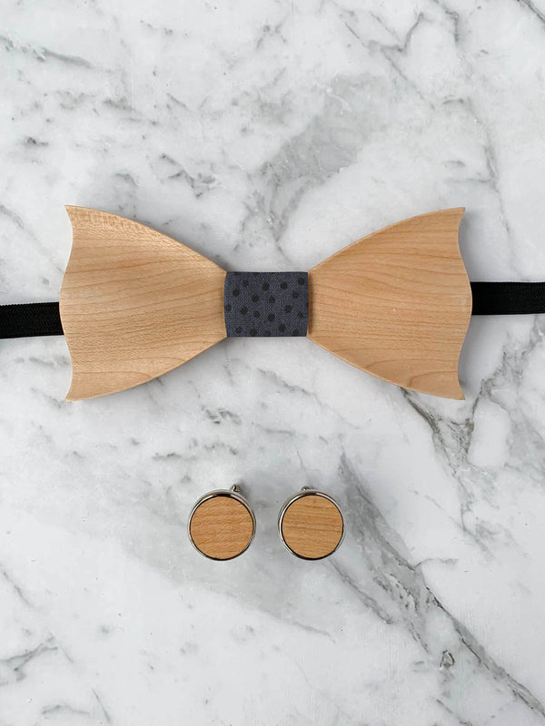 Blue Grey Leather Trim Suspenders, Wooden Bow Tie & Cufflinks Set