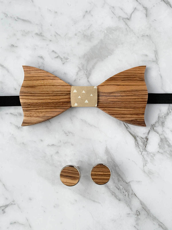 Cotton Zebra Wooden Bow Tie & Cufflinks Set
