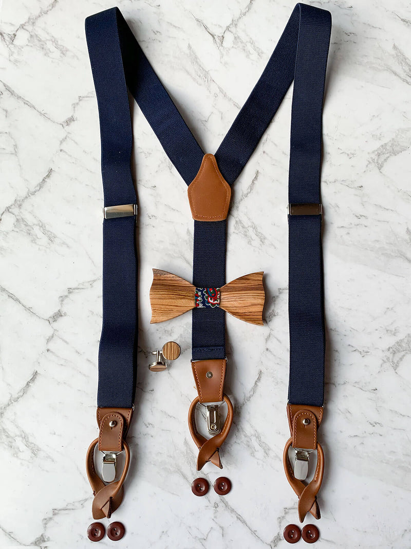 Navy Leather Suspenders With Matching Wooden Bow Tie And Cufflinks | Zebra Wood With Blue & White Floral