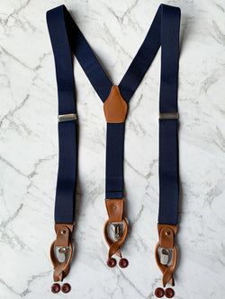 Navy Leather Trim Clip/Button Convertible Suspenders