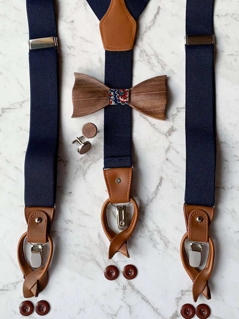 Navy Leather Trim Suspenders, Wooden Bowtie & Cufflinks Set