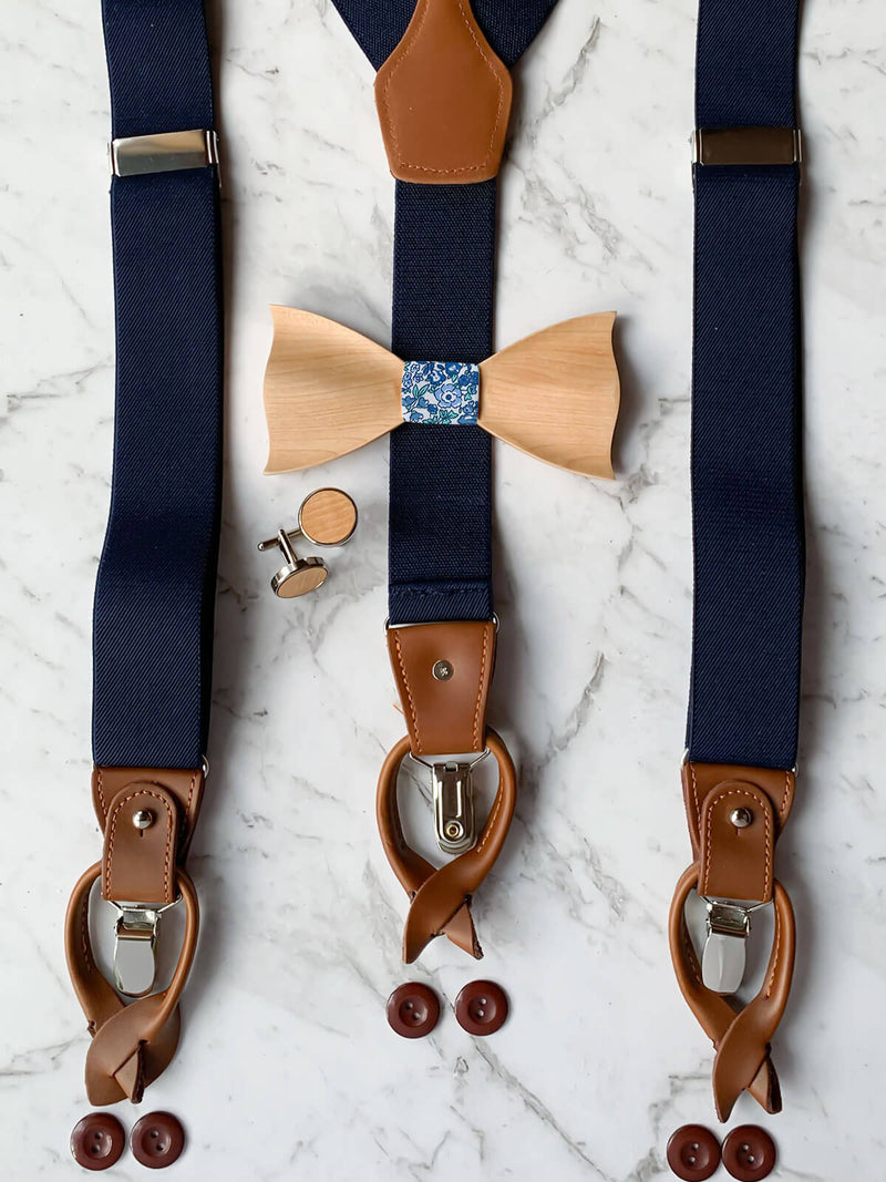 Navy Mens Suspenders With Matching Wooden Bow Tie And Cufflinks | Maple Wood With Blue & White Floral Cotton