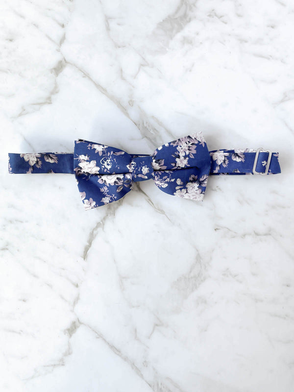 Blue Floral Cotton Bow Tie Set