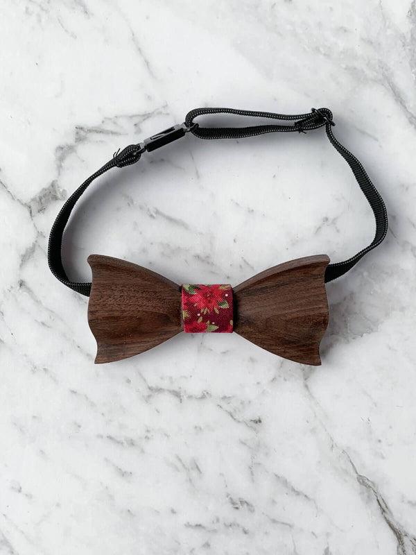 Kids Burgundy Wooden Bow Tie, Suspenders & Brooch Set