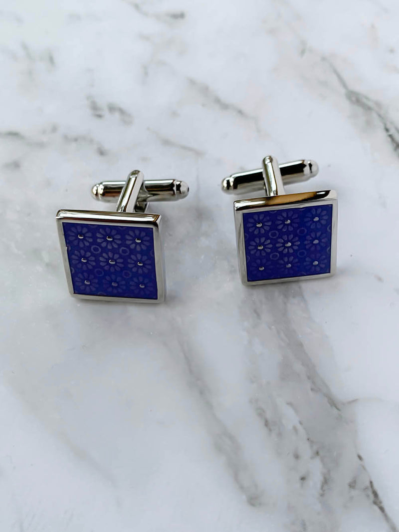 Floral Blue Square Cufflinks