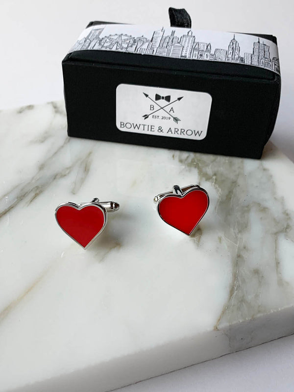 Red Heart Cufflinks In Gift Box | Novelty Cufflinks Australia