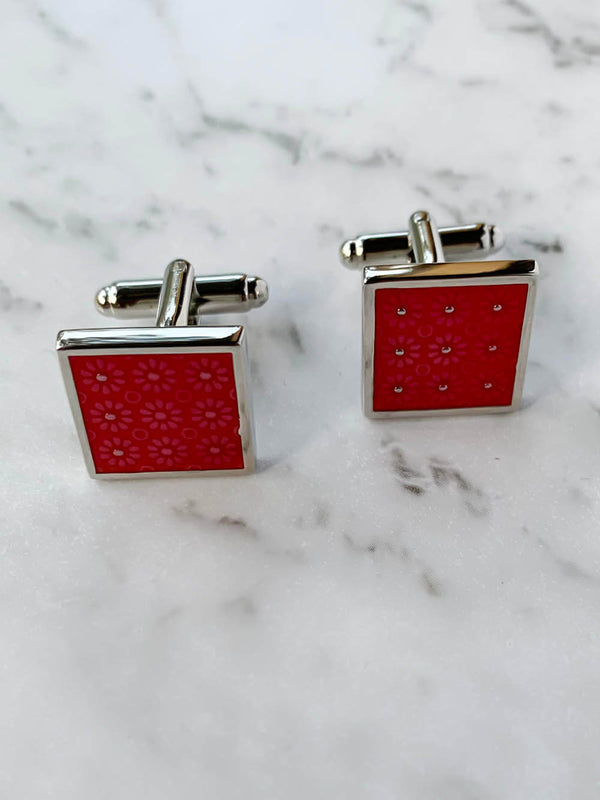 Red Floral Cufflinks | Gifts For Him