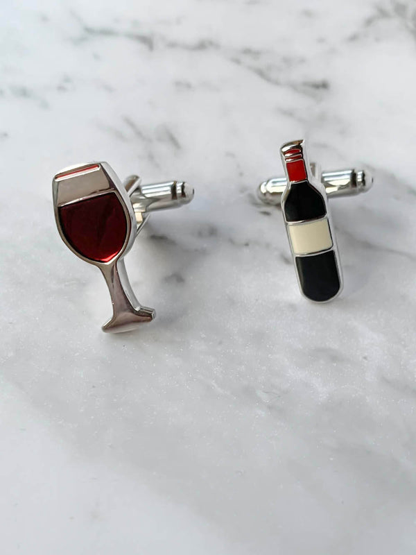 Red Wine and Glass Cufflinks