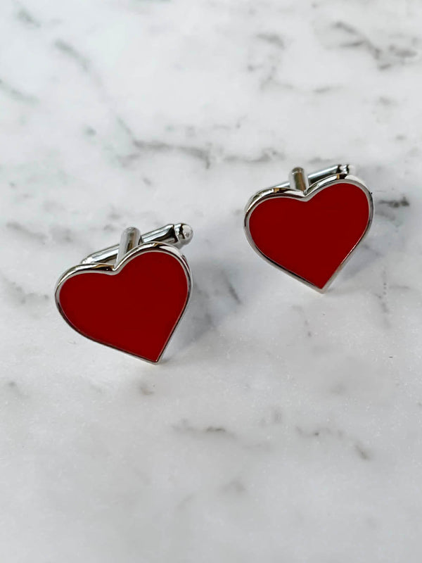 Red Love Heart Cufflinks | Gifts For Him