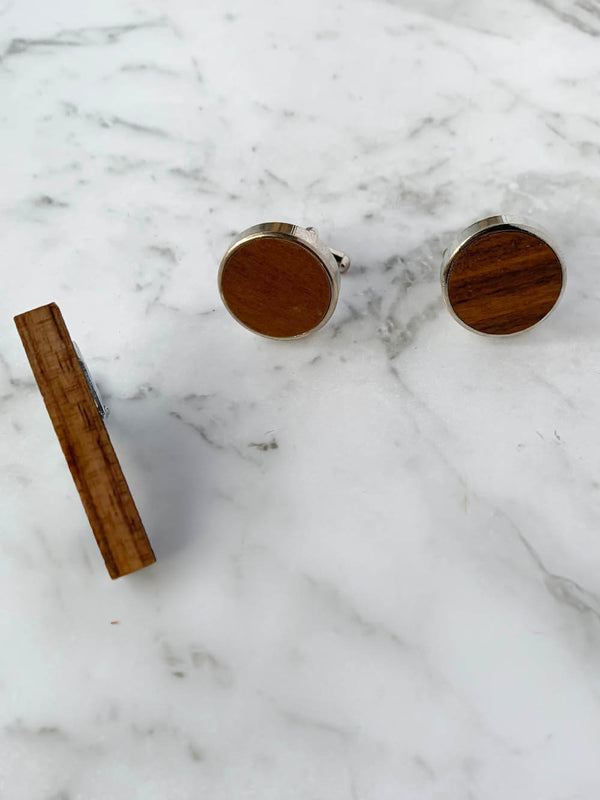 Wooden Cufflinks And Wooden Tie Bar Australia