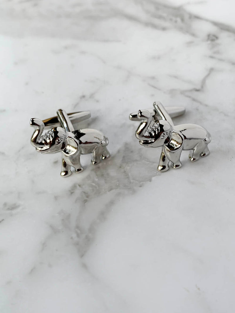 Silver Elephants Cufflinks | Animal Cufflinks Australia