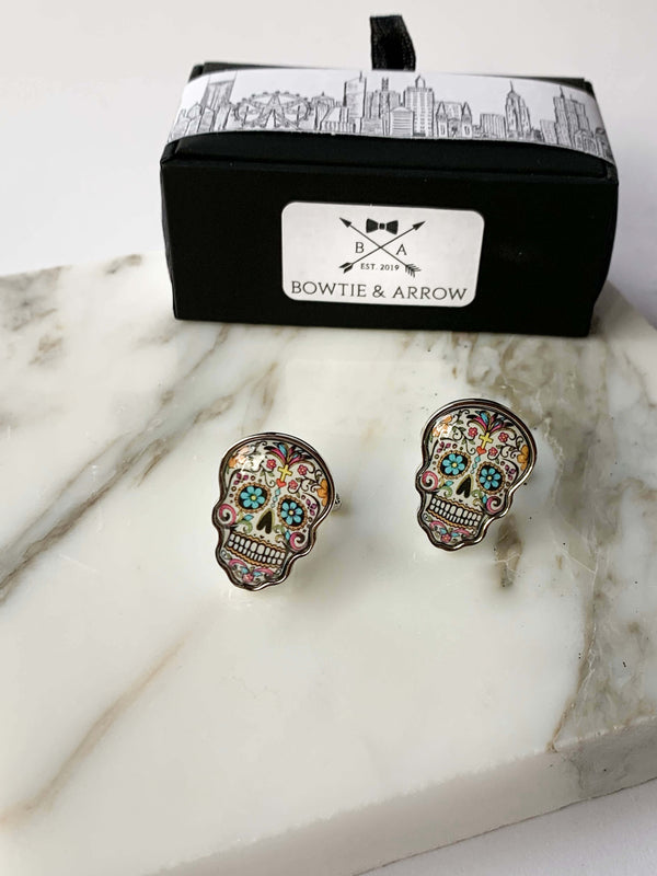 Day Of The Dead Skull Cufflinks In Gift Box