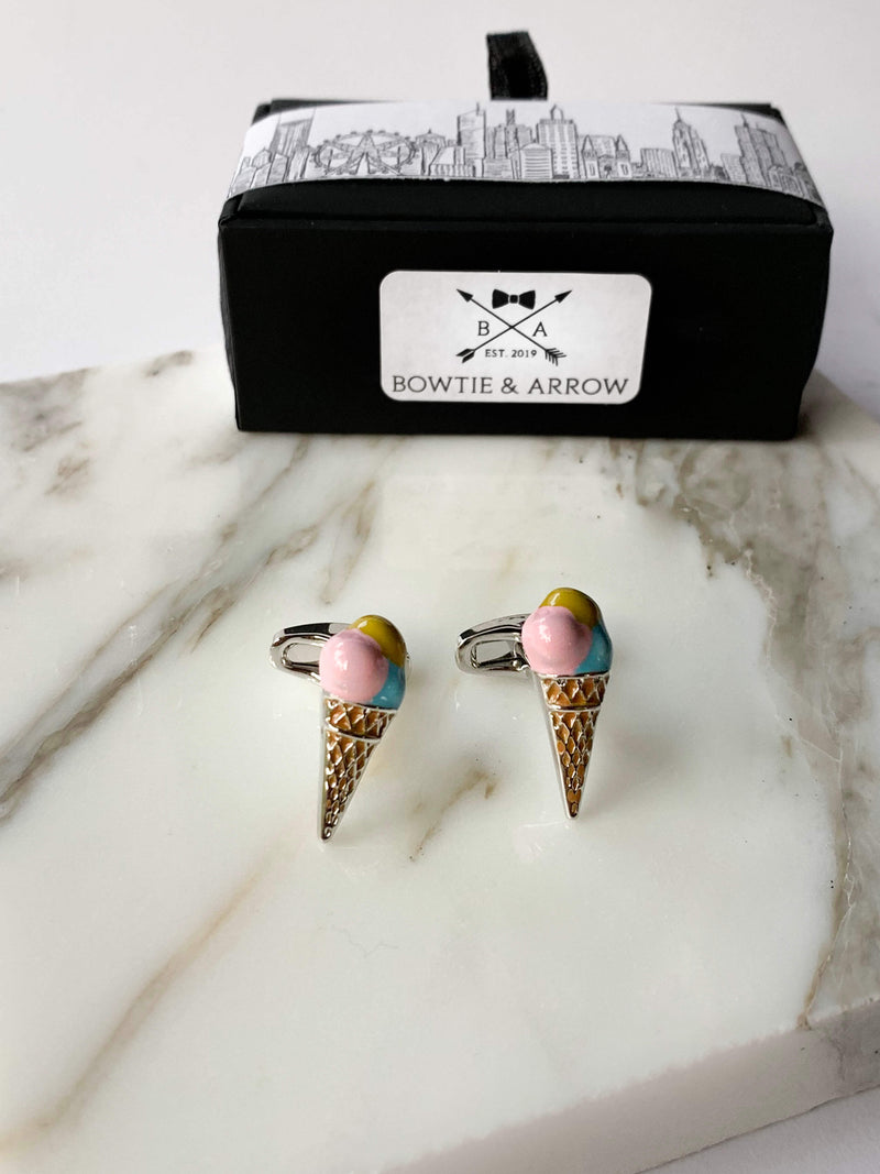 Pink Icecream Cufflinks In Gift Box | Novelty Cufflinks Australia
