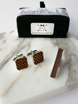 Dark Walnut Checkered Wooden Cufflinks and Wooden Tie Bar In Gift Box