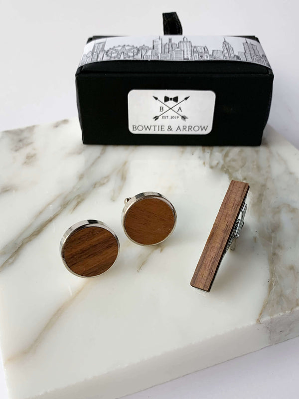 Round Wooden Cufflinks & Tie Bar