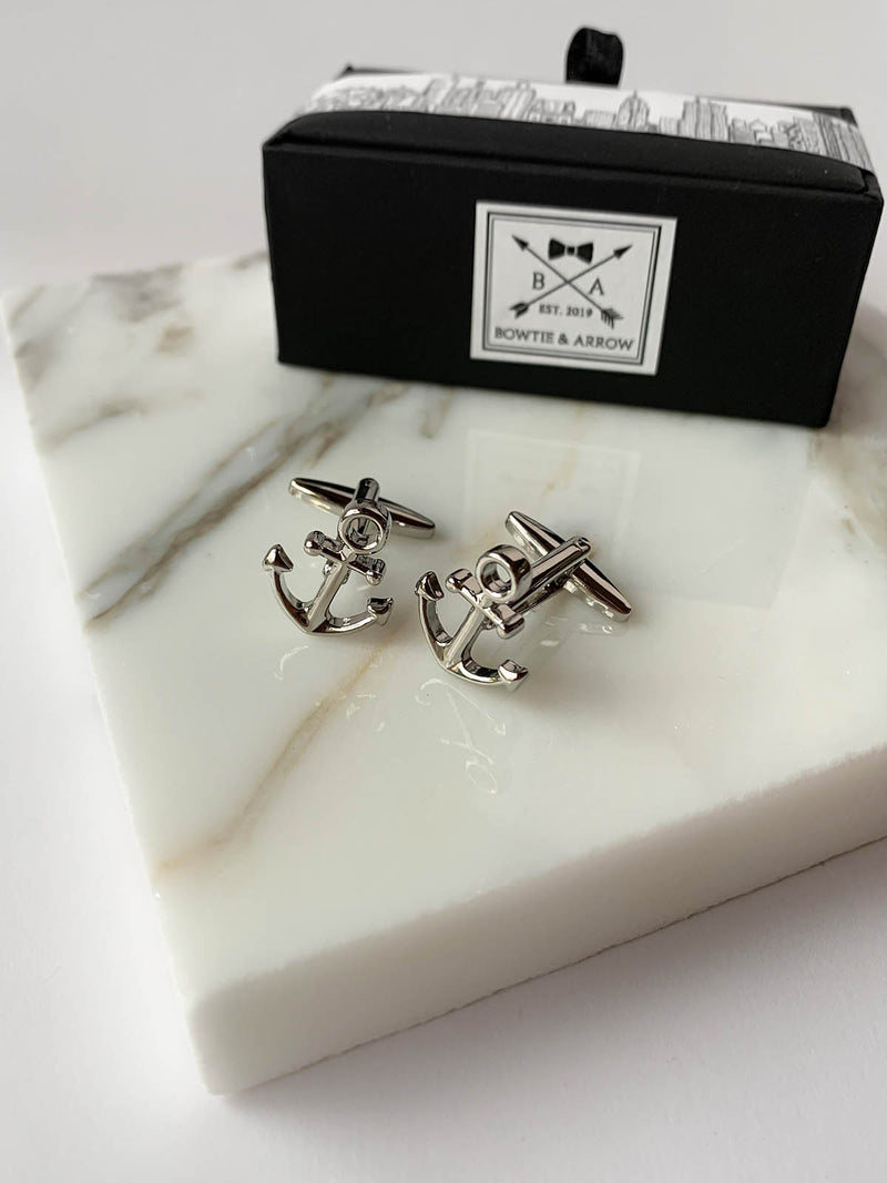 Fine Silver Anchor Mens Cufflinks | Bowtie & Arrow Australia