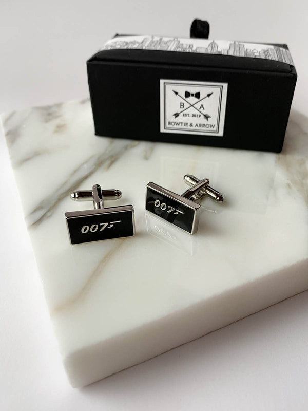007 James Bond Black Silver Mens Cufflinks | Bowtie & Arrow Australia