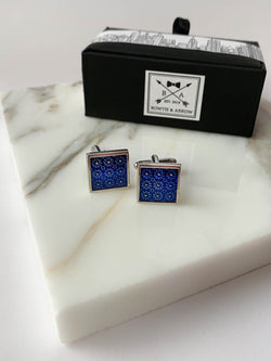Blue Floral Silver Mens Cufflinks | Bowtie & Arrow Australia