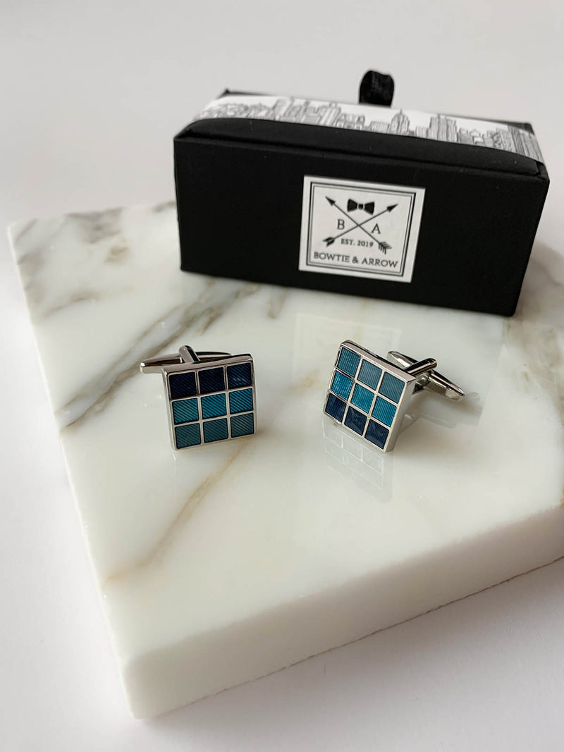 Blue Mosaic Silver Square Mens Cuflinks | Bowtie & Arrow Australia