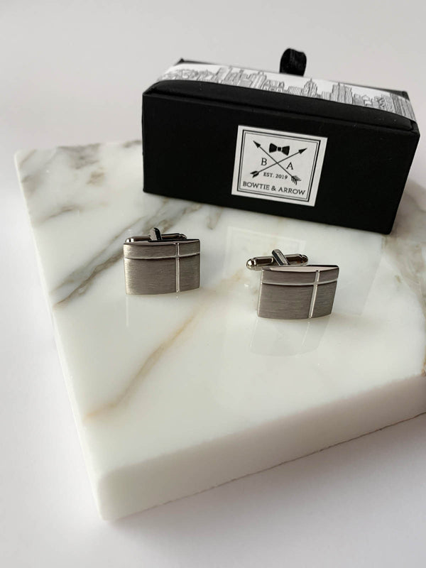 Brushed Matt Silver Rectangle Mens Cufflinks | Bowtie & Arrow Australia