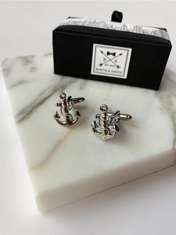 Silver Anchor with Rope Mens Cufflinks | Bowtie & Arrow Australia