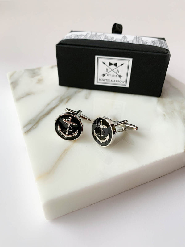 Black Anchor Circle Cufflinks