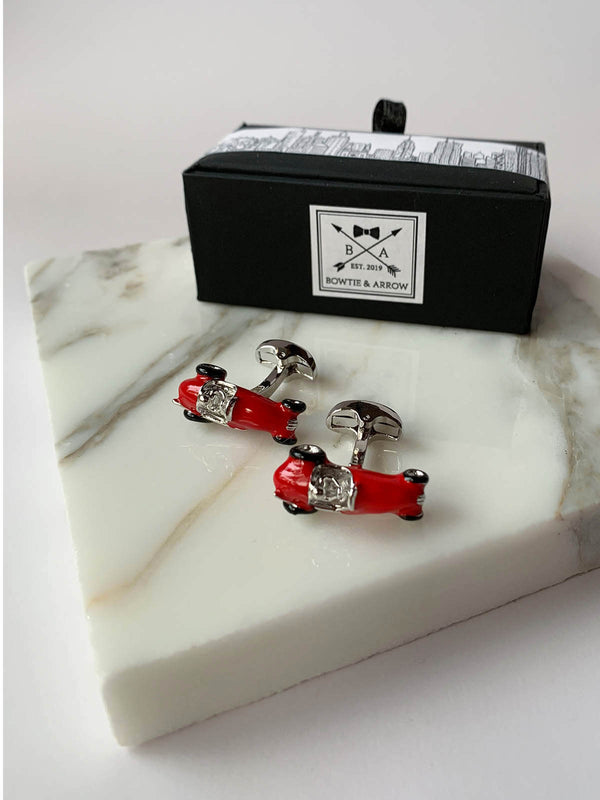 Vintage Red Racing Car Cufflinks