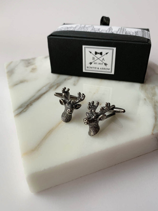 Deer Head Cufflinks In Gift Box| Silver Stag Cufflinks | Novelty Cufflinks Australia