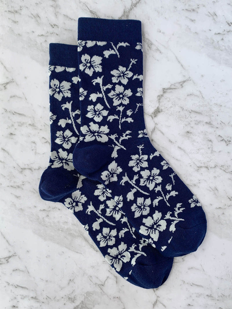 Mens Floral Navy Patterned Funky Socks | Bowtie & Arrow Australia