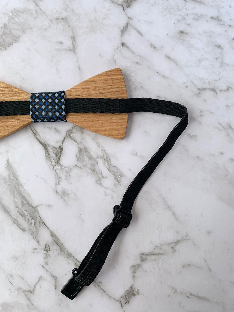 Wood Bowtie with Navy Fabric | Bowtie & Arrow Australia