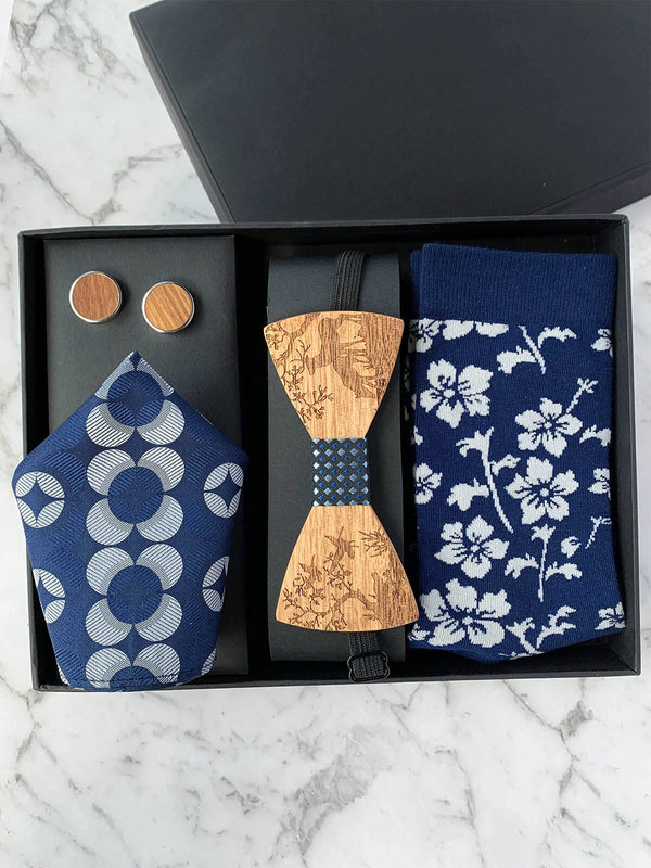 Mens Wood Bowtie Gift Set with Navy Floral and Deer Motifs | Bowtie & Arrow Australia
