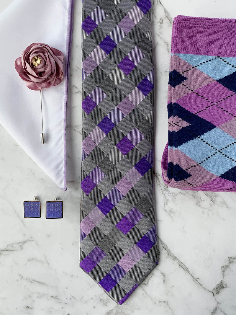 Lavender Martini Silk Tie Set