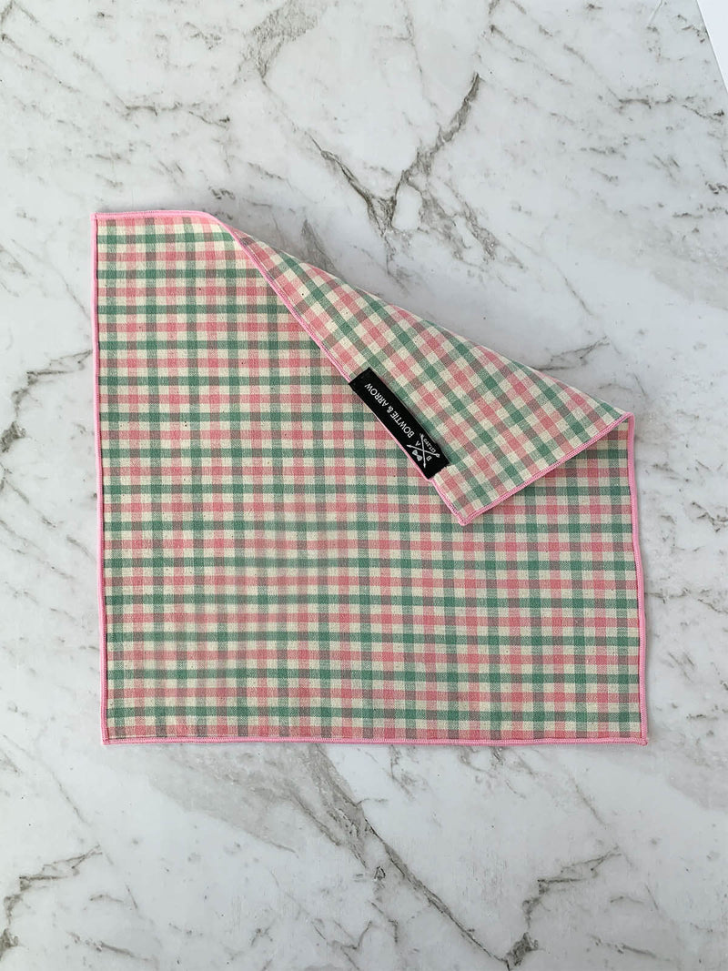 Pink and Green Checked Cotton Pocket Square | Bowtie & Arrow