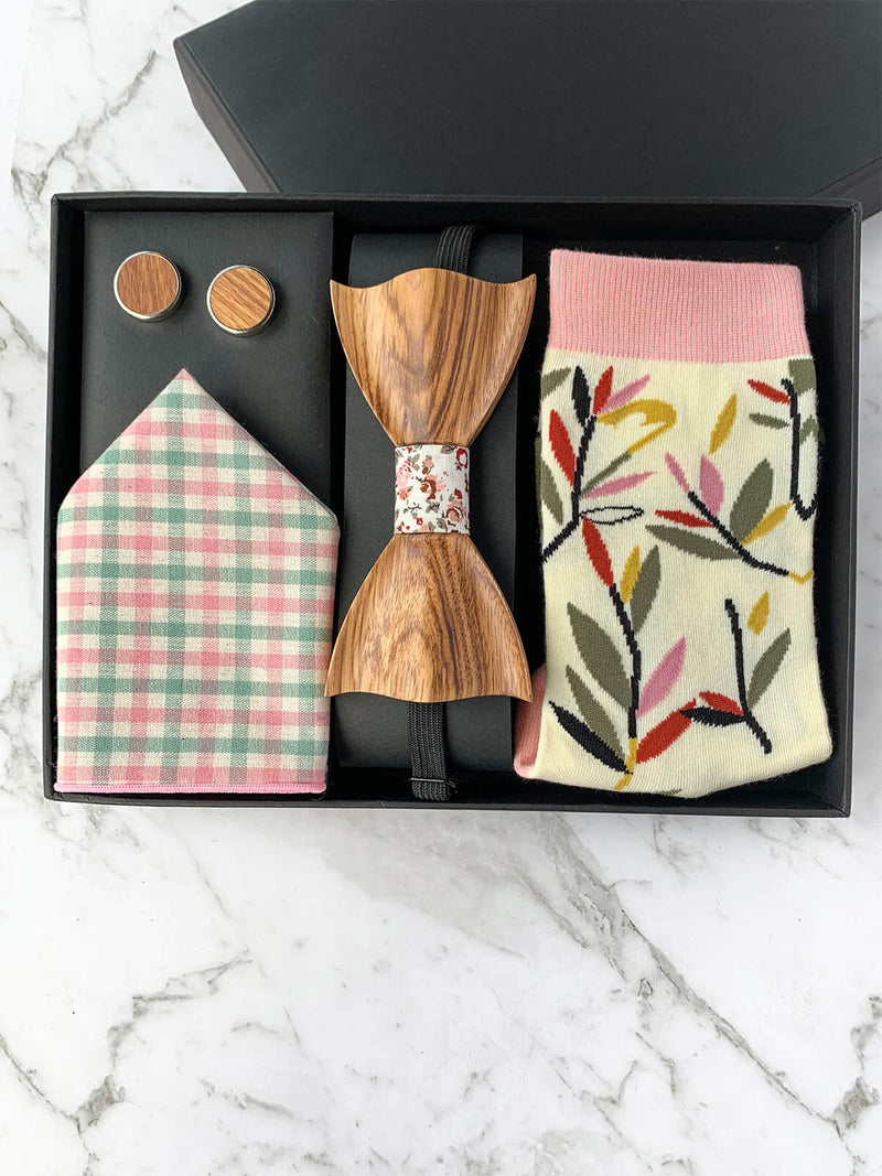 Wooden Bow Tie and Cufflinks with Pink Pocket Square and Socks Gift Box for Wedding | Bowtie & Arrow Australia
