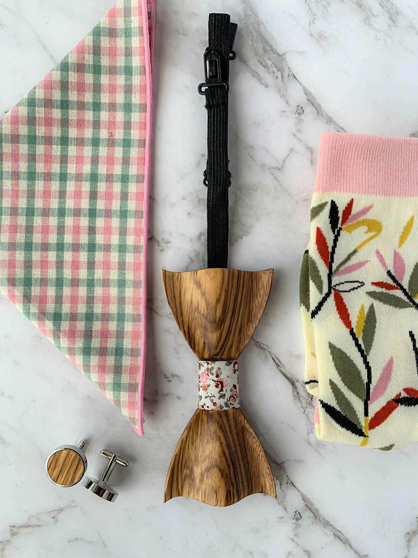 Wooden Bow Tie, Wood Cufflinks, Pink Floral Pocket Square and Matching Socks Flatlay | Bowtie & Arrow