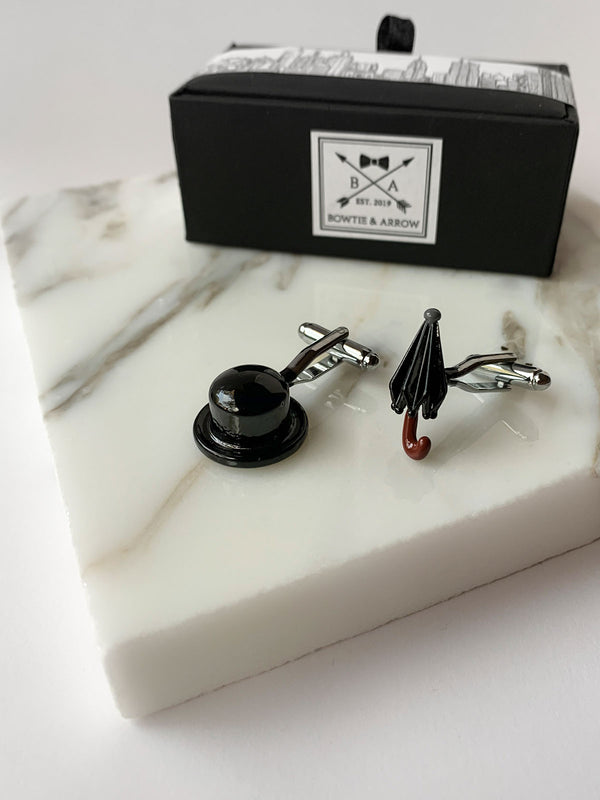 Dapper Gentleman Black Hat and Umbrella Unique Mens Cufflinks | Bowtie & Arrow Australia