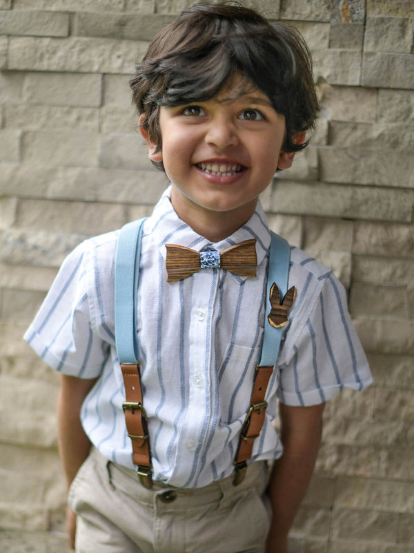 Kids Baby Blue Wooden Bow Tie, Suspenders & Animal Pin Set