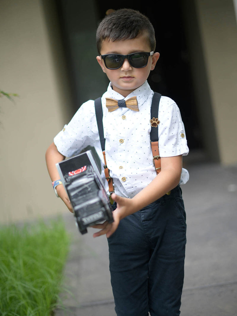 Kids Black Wooden Bow Tie, Suspenders & Brooch Set
