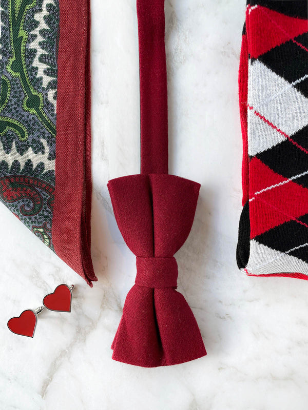 King Of Hearts Wool Bow Tie Set
