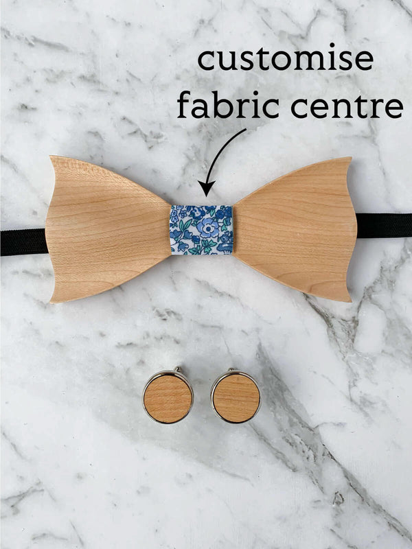 Cotton Maple Wooden Bow Tie & Cufflinks Set