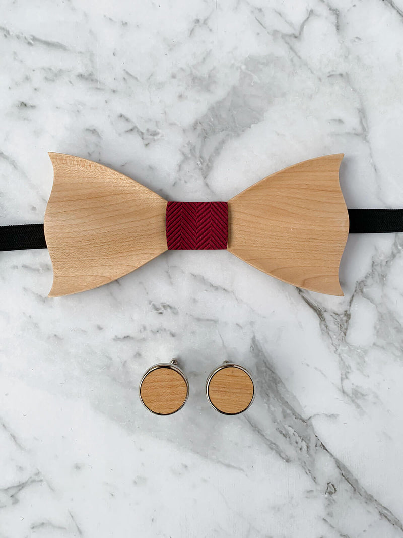 Wooden Bow Tie & Wooden Cufflinks | Maple Wood & Red Silk Bowtie
