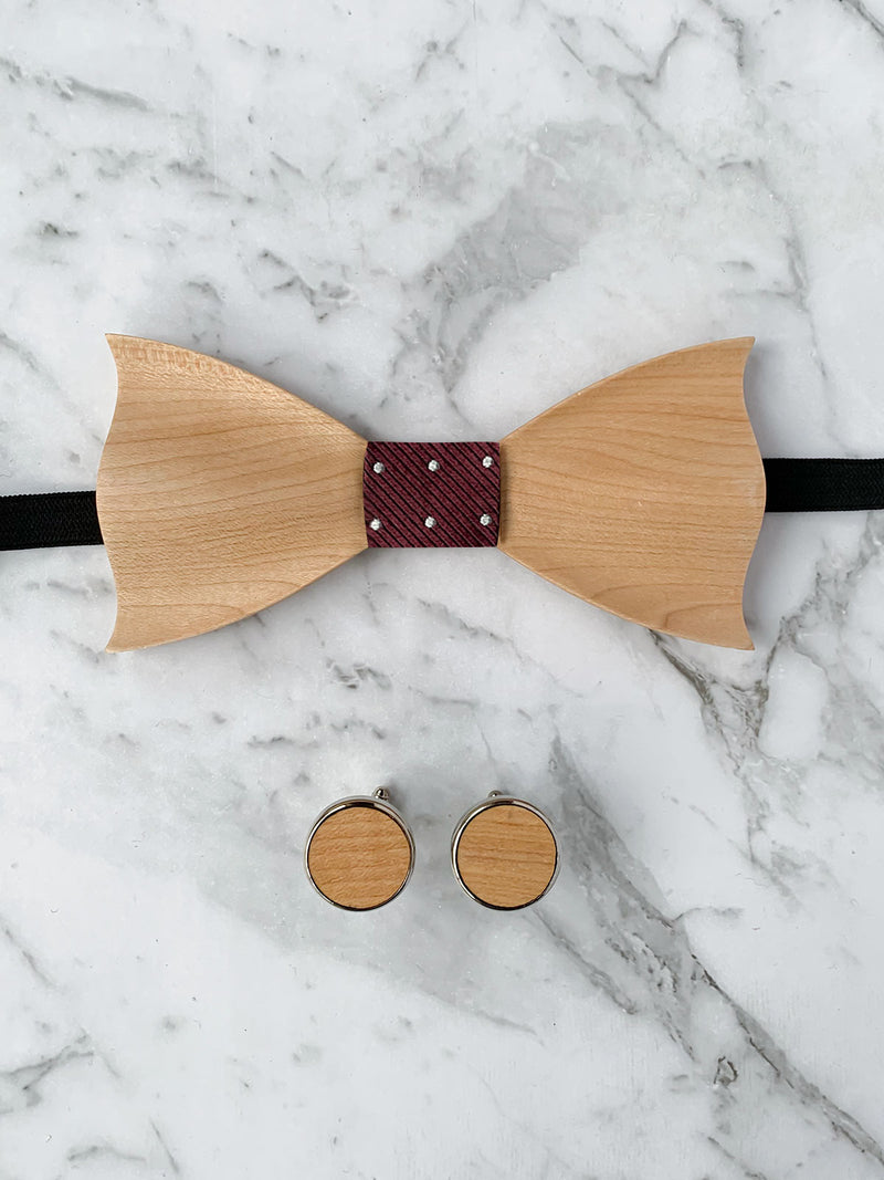 Wooden Bow Tie & Wooden Cufflinks | Maple Wood & Burgundy Silk Bowtie