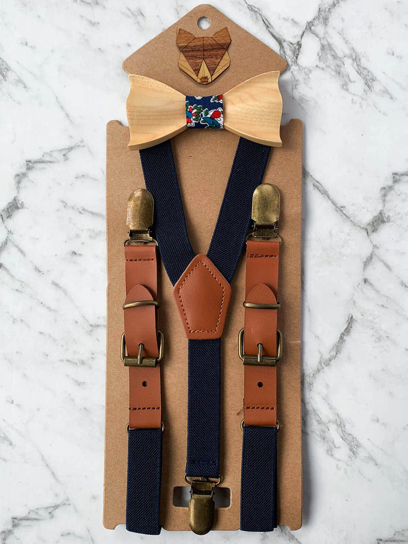 Kids Navy Wooden Bow Tie, Suspenders & Brooch Set