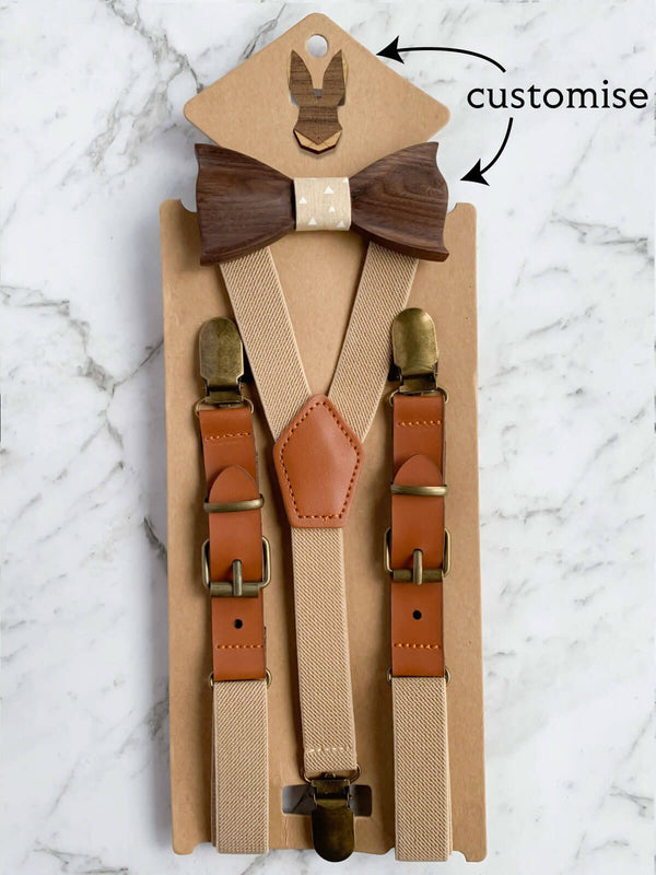 Kids Oatmeal Wooden Bow Tie, Suspenders & Brooch Set